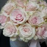 Różowe róże w pudełku